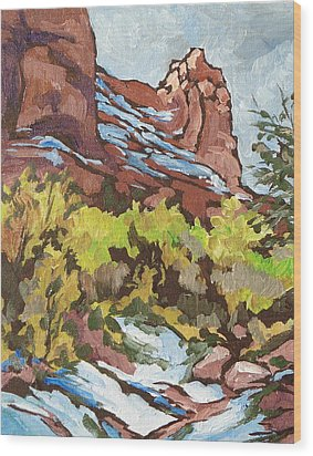 Courthouse Rock Wood Print by Sandy Tracey