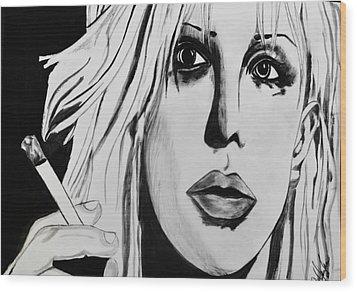 Courtney Love Wood Print by Cat Jackson