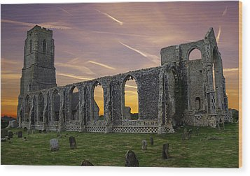 Wood Print featuring the photograph Covehithe Abbey - Suffolk by Rod Jones
