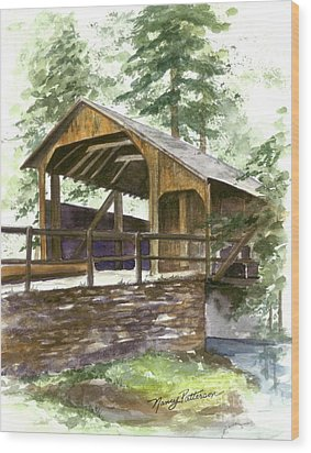 Wood Print featuring the painting Covered Bridge At Knoebels  by Nancy Patterson