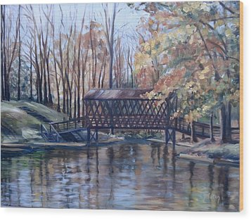 Covered Bridge At Lake Roaming Rock Wood Print by Donna Tuten