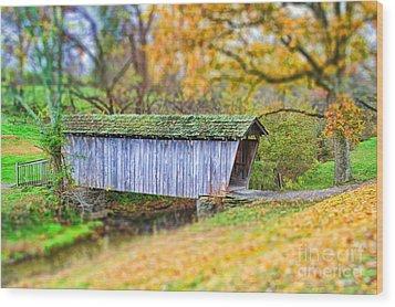 Covered Bridge Wood Print by Darren Fisher