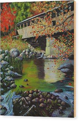 Covered Bridge Wood Print by Suni Roveto