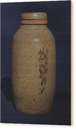 Wood Print featuring the ceramic art covered Jar  by Rick Ahlvers