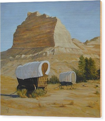 Covered Wagons Wood Print