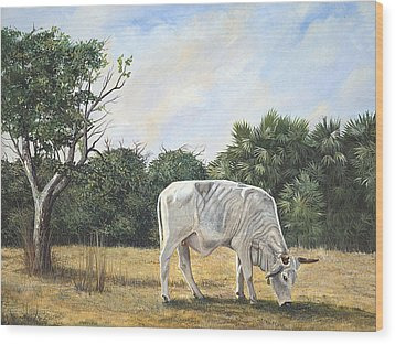 Wood Print featuring the painting Cow by AnnaJo Vahle