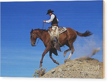 Cowboy Wood Print by George D Lepp and Photo Researchers