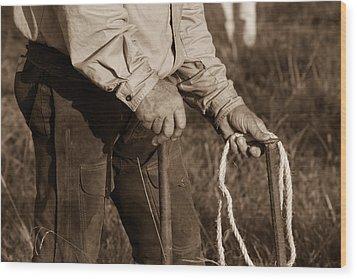 Cowboy Hands At Work Wood Print by Toni Hopper