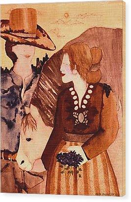 Cowboy Love Wood Print by Dede Shamel Davalos