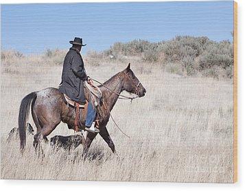 Cowboy On Horseback Wood Print by Cindy Singleton