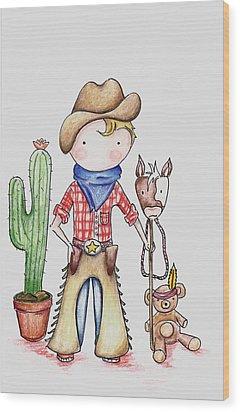 Cowboy Wood Print by Sarah LoCascio