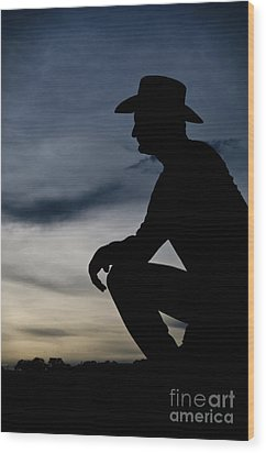 Cowboy Silhouette At Sunset Wood Print by Andre Babiak