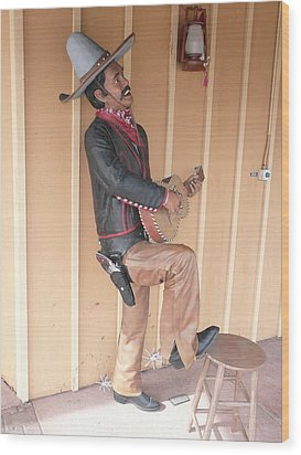 Cowboy Statue Wood Print by Mary M Collins