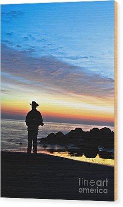 Cowboy Sunrise Wood Print