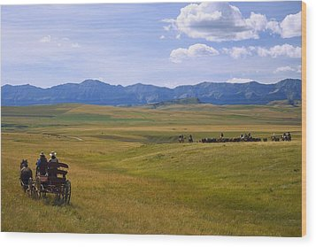 Cowboys And Wagon On A Cattle Drive Wood Print by Carson Ganci