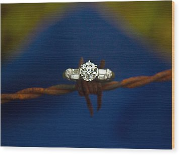 Cowgirl Engagement Ring 1 Wood Print by Douglas Barnett
