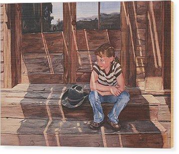 Cowgirl Wood Print by Leslie Redhead