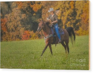 Cowgirl Wood Print by Susan Candelario