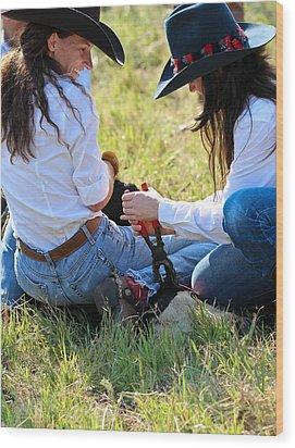 Cowgirls At Work Wood Print by Elizabeth Hart