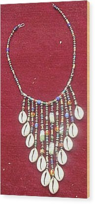 Cowrie Neg Lace Wood Print by Anjeh Ambroise