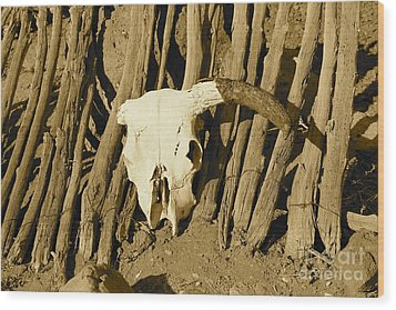 Cowskull - Sepia Wood Print by Pamela Walrath