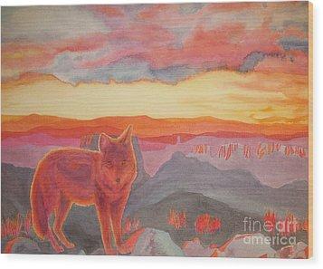 Coyote Cliff Wood Print by Vikki Wicks