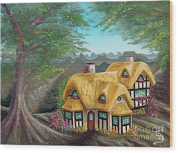 Cozy Cottage From Arboregal Wood Print