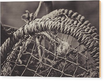 Crab Cage Wood Print by Justin Albrecht