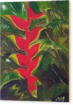 Crab Claw Heliconia Wood Print by Maria Soto Robbins