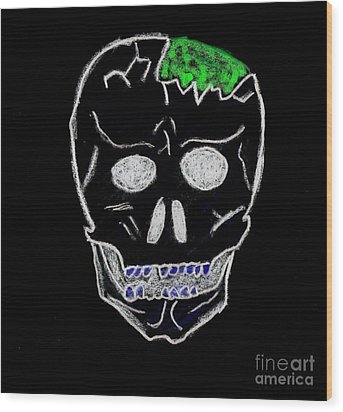 Cracked Skull Black Background Wood Print by Jeannie Atwater Jordan Allen
