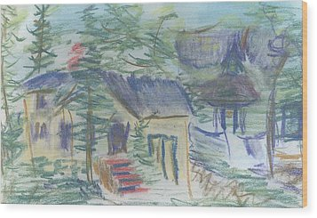 Wood Print featuring the pastel Crackhouse Revisited by Denny Morreale