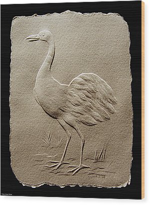 Crane Bird Wood Print by Suhas Tavkar