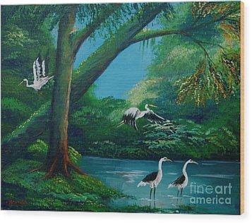 Cranes On The Swamp Wood Print