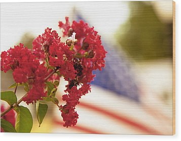 Crapemyrtle And Patriotic Proud Wood Print by Toni Hopper