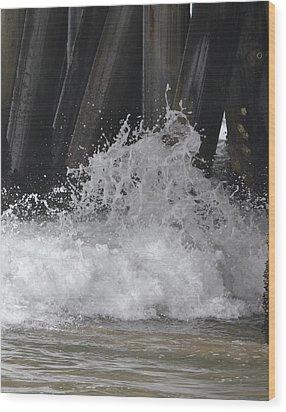 Crashing Below Shore Wood Print by Naomi Berhane