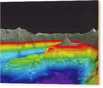 Crater Lake Wood Print by U.S. Geological Survey