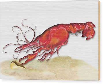Wood Print featuring the painting Crawfish by Anne Beverley-Stamps