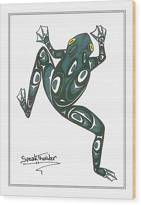 Crawling Frog Green Wood Print by Speakthunder Berry