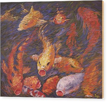 Wood Print featuring the painting Crazed Clear Creek Koi by Charles Munn