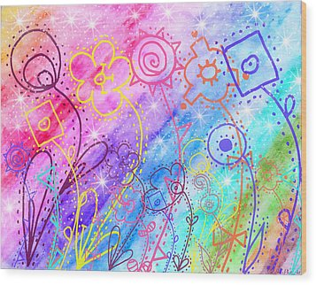 Crazy Flower Garden Wood Print by Debbie Portwood