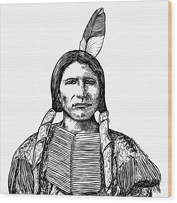 Crazy Horse Wood Print by Karl Addison