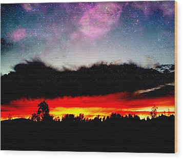 Crazy Sunset Wood Print by Raven Janush