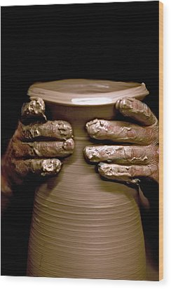 Creation At The Potter's Wheel Wood Print by Rob Travis