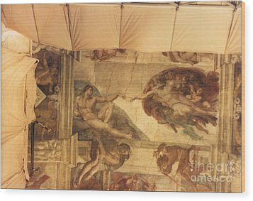 Creation Of Adam With Scaffolding Wood Print