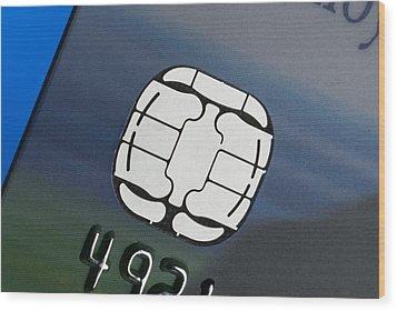 Credit Card Microchip Wood Print by Steve Horrell