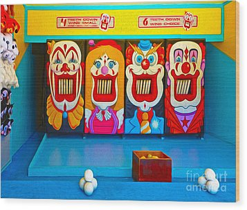 Creepy Clown Game Wood Print by Gregory Dyer