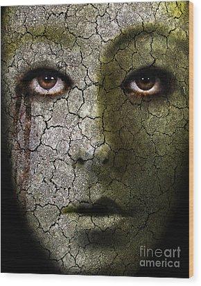 Creepy Cracked Face With Tears Wood Print by Jill Battaglia
