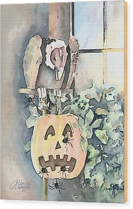 Wood Print featuring the mixed media Creepy Crawlers by Arline Wagner