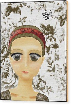 Creepy Face Wood Print by Heizel Gonzalez