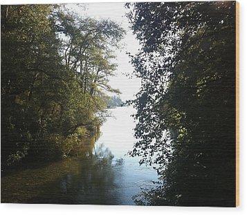 Crescent Lake Thru The Trees Wood Print